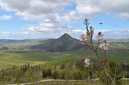 Beautiful Sicilian Landscape, Mazzarino, Caltanissetta, Italy, Europe Banco de Imagens