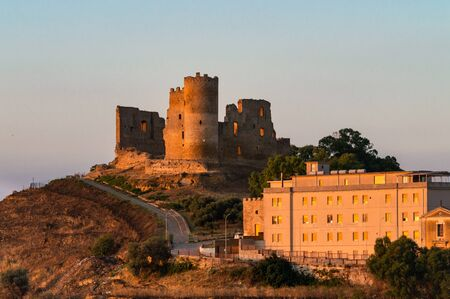 View of Mazzarino Medieval Castle with the Lights of Sunset, Caltanissetta, Sicily, Italy, Europe