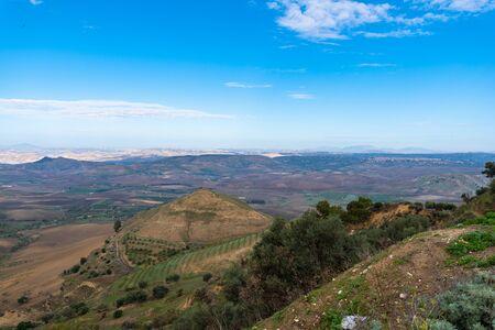 Sicilian Landscape from Mazzarino, Caltanissetta, Sicily, Italy, Europe Stockfoto