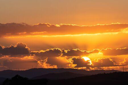 Beautiful Landscape at Sunset, Mazzarino, Caltanissetta, Sicily, Italy, Europe
