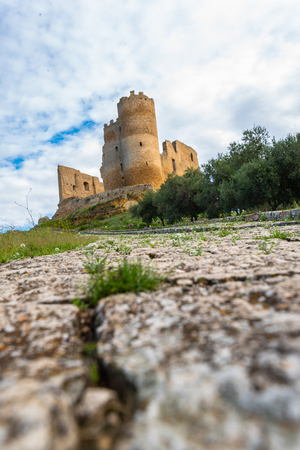 View of Mazzarino Medieval Castle, Caltanissetta, Sicily, Italy, Europe