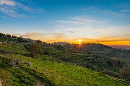 Wonderful Sunset over Mazzarino, Caltanissetta, Sicily, Italy, Europe