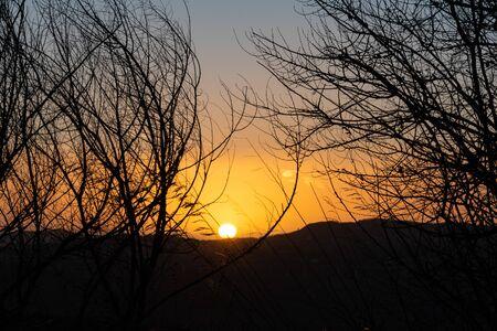 Beautiful Sunset over the Sicilian Countryside, Caltanissetta, Sicily, Italy, Europe Stockfoto