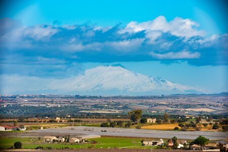 View of Mount Etna from Vittoria Countryside, Ragusa, Sicily, Italy, Europe