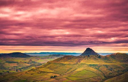 View of Sicilian Landscape from Mazzarino, Caltanissetta, Sicily, Italy, Europe