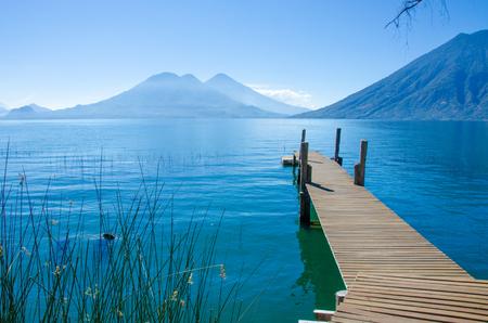 crater highlands: Vulcano Landscape and Lake Atitlan in Guatemala Stock Photo