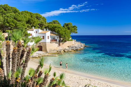 Cala Gat at Ratjada, Mallorca - beautiful beach and coast 免版税图像