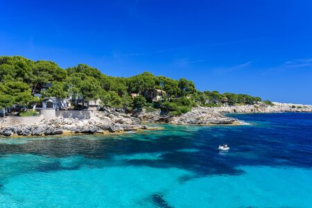 mallorca: Sailing boat at cala Ratjada, Mallorca - beautiful beach and coast