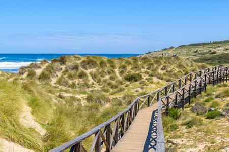 mallorca: Foot bridge at Cala Mesquida - beautiful coast of island Mallorca, Spain