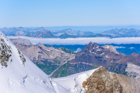 View from Jungfraujoch platform to the Bernese Alps in Switzerland - travel destination in Europe