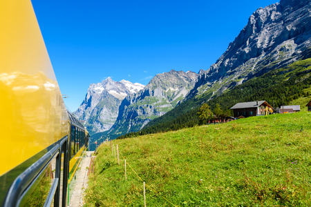 Famous train between Grindelwald and the Jungfraujoch station - railway to top of Europe, Switzerland