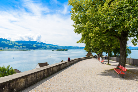 pedestrian bridge: Rapperswil City at lake Zuerich, Switzerland - travel destination in Europe Stock Photo