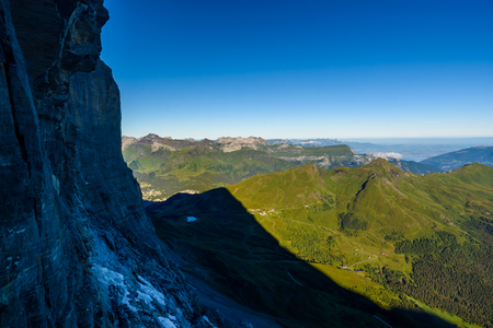 View from Eiger north wall at Grindelwald in the Bernese Alps in Switzerland - travel destination in Europe