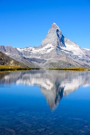 landscape: Stellisee - beautiful lake with reflection of Matterhorn - Zermatt, Switzerland
