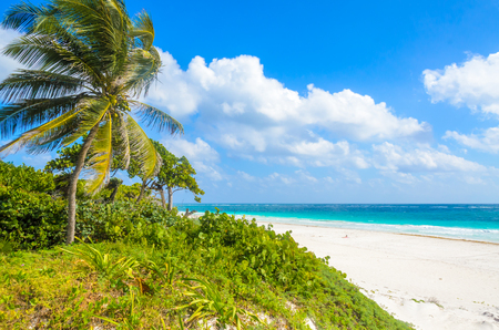 Paradise beach of Tulum, Quintana Roo, Mexico. Mayan ruins of Tulum at tropical coast. Stock Photo