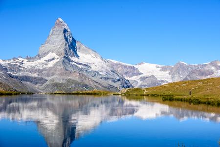 Stellisee - beautiful lake with reflection of Matterhorn - Zermatt, Switzerland