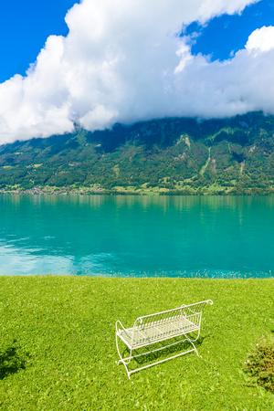 canton berne: Village Iseltwald at Lake Brienz - beautiful lake in the alps at Interlaken, Switzerland