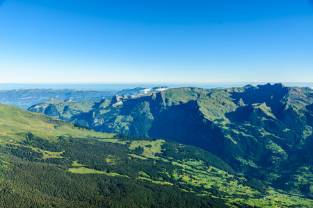 monch: View from Eiger north wall at Grindelwald in the Bernese Alps in Switzerland - travel destination in Europe