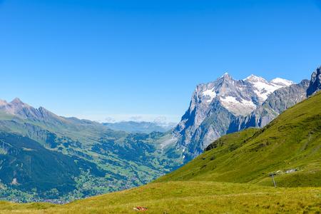 monch: Beautiful mountain scenery at Grindelwald and Jungfrau - Switzerland Stock Photo