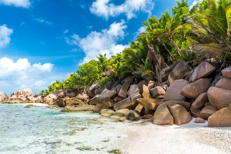 la digue: Beautiful beach - Anse Cocos - La Digue, Seychelles Stock Photo