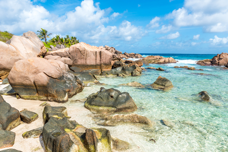Beautiful beach - Anse Cocos - La Digue, Seychelles Stock Photo