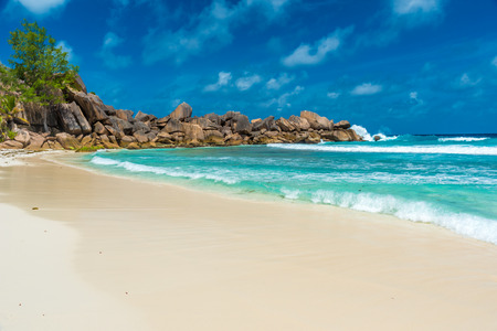 Tropical Grand Anse on island La Digue, Seychelles