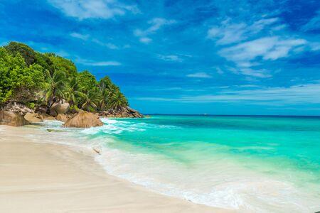 la digue: Anse Patates - tropical beach on island La Digue, Seychelles