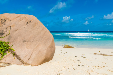 la digue: Tropical Grand Anse on island La Digue, Seychelles
