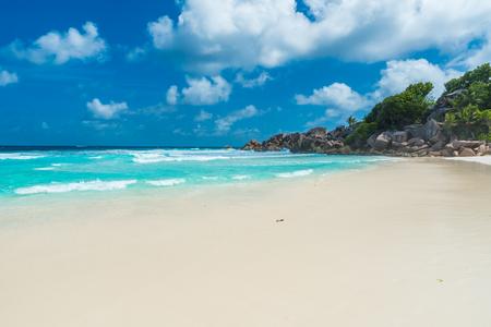 la digue: Petite Anse, La Digue in Seychelles - Tropcial and paradise beach Stock Photo