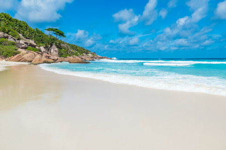 Petite Anse, La Digue in Seychelles - Tropcial and paradise beach Stock Photo