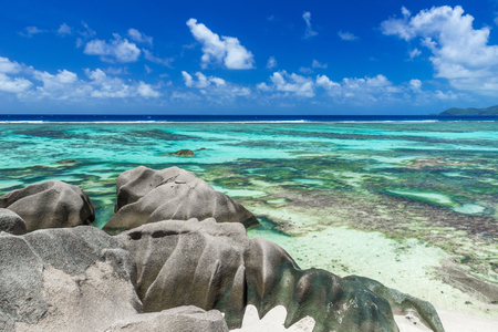 source d eau: Anse Source dArgent - Beach on island La Digue in Seychelles