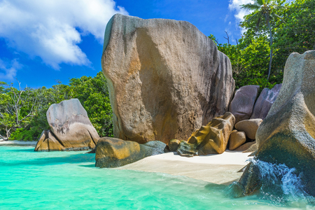 Anse Source dArgent - Beautiful beach on tropical island La Digue in Seychelles Stock Photo