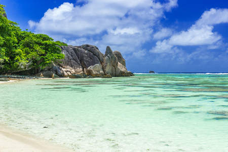 la digue: Anse Source dArgent - Beautiful beach on tropical island La Digue in Seychelles Stock Photo