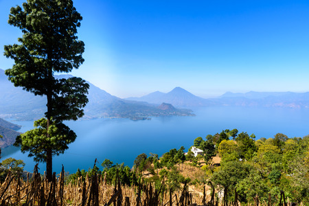 Panorama view of the lake Atitlan and volcanos  in the highlands of Guatemala