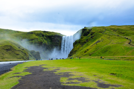 Skogafoss - huge waterfall in the south of Iceland Stock Photo