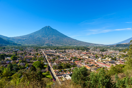 Cerro de la Cruz - Viewpoint from hill to old historic city Antigua and volcano in the mayan highlands in Guatemala Stock Photo