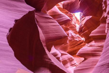 navajo land: Antelope Canyon - located on Navajo land near Page, Arizona, USA - beautiful colored rock formation in slot canyon in the American Southwest Stock Photo