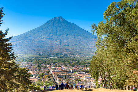 Cerro de la Cruz - Viewpoint from hill to old historic city Antigua and volcano in the mayan highlands in Guatemala Editorial