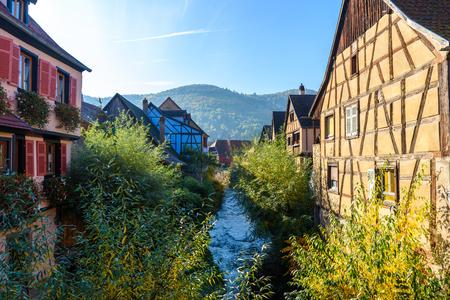 Chateau de Kaysersberg - historical village in wine region, vineyards in Alsace, France - Europe
