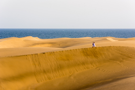 Desert with sand dunes in Gran Canaria, Spain Stock Photo