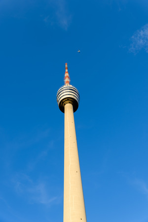 TV Tower in Stuttgart, Germany - First TV Tower of the world - Plane in the background