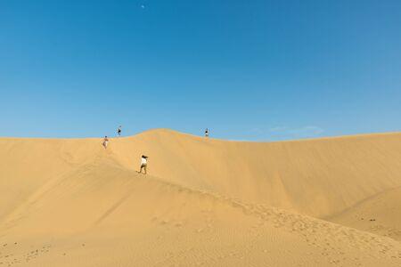 gran canaria: People walking through the desert
