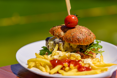 grill: Gourmet Hamburger with fries