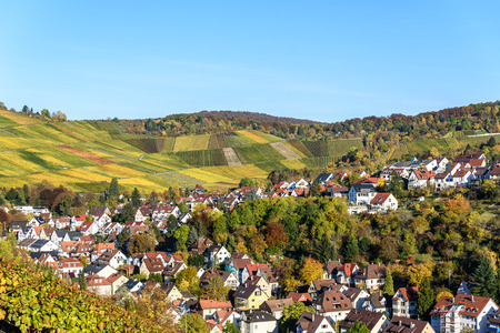 Vineyards at Stuttgart, Uhlbach at the Neckar Valley - beautiful landscape in autum in Germany Stok Fotoğraf - 83587462