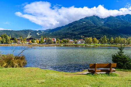 Lake Wildsee, Tirol, Austria - Europe의 Seefeld에서 스톡 콘텐츠