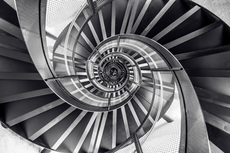 Spiral staircase in tower - interior architecture of building