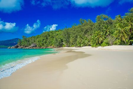 la digue: Anse Soleil - Paradise beach on tropical island Mah�
