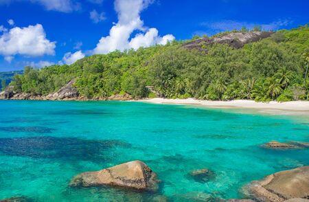 la digue: Anse Soleil - Paradise beach on tropical island Mahé Stock Photo