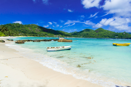 la digue: Petite Anse - beautiful beach on island Mahe, Seychelles
