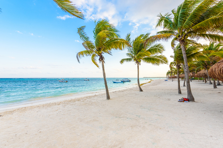 Beautiful white sand beach in Akumal, Mexico - paradise bay Beach in Quintana Roo - caribbean coast - sunset at Riviera Maya Stock Photo